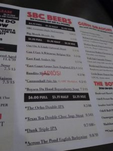 SBC Beer Menu 2