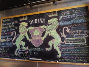 DUBINA beer menu