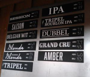 PBC beer menu